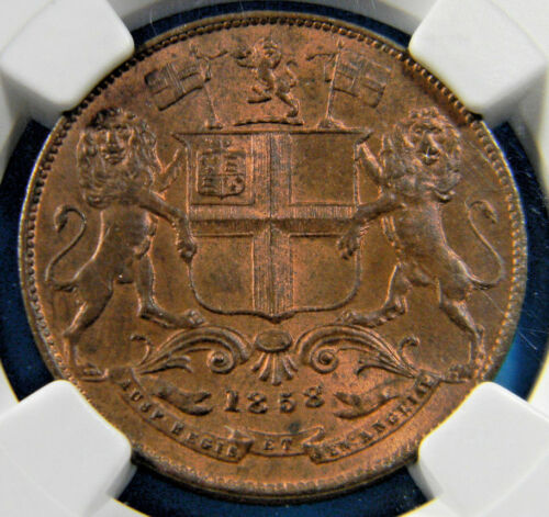 British India 1858 1/4 Anna NGC MS 64 RB