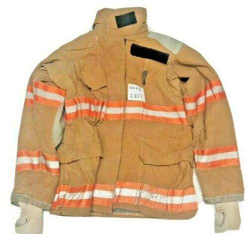 Quaker 42x31 Brown Firefighter Turnout Jacket with Orange Reflective Tape J851