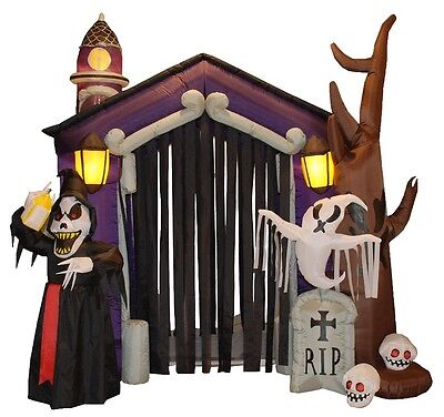 USED - HUGE Halloween Inflatable Haunted House Archway Skeleton Ghost Decoration