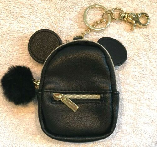 Disney Mickey Mouse Back Pack Mini Clip On Coin Purse Keychain Black - Mint!