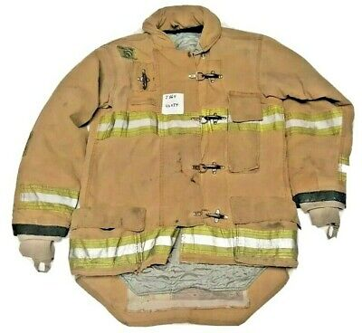 42x34 Morning Pride Firefighter Brown Turnout Jacket Coat With Yellow Tape J864