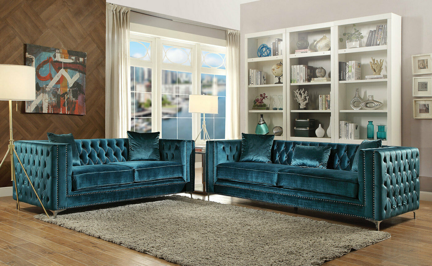 Picture of: Aegean Dark Teal Blue Green Tufted Velvet Sofa Loveseat W Silver Accents Ebay