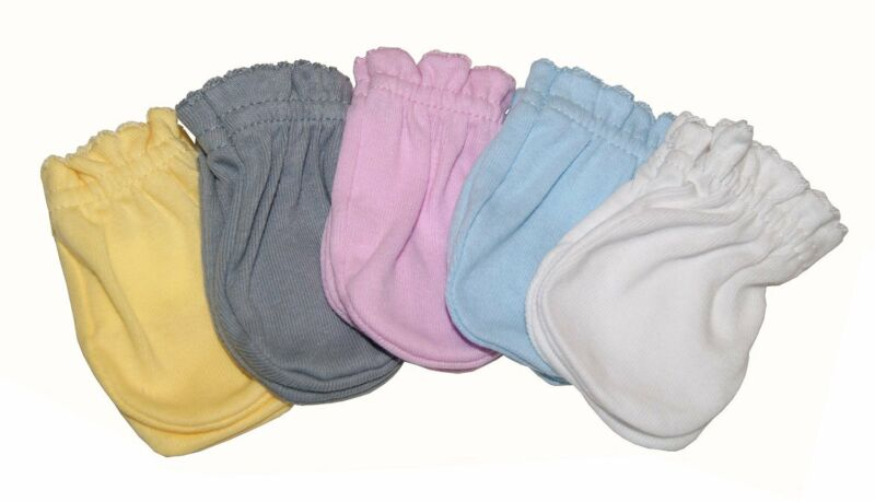 Solid - Mix 5 Pairs Cotton Newborn Baby/infant No Scratch Mittens Gloves