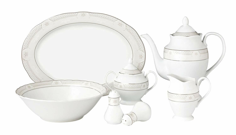 Lorren Home Trends LH434, 24 Piece Wavy Porcelain Tova Colle