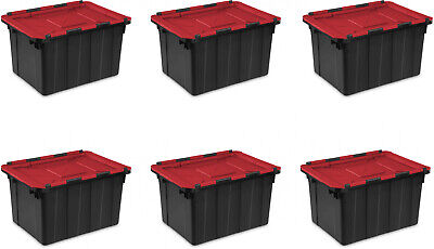 Hinged Lid Industrial Stacking Tote Storage Box Container 12 Gallon Bin 6 Pack Hinged Storage Container