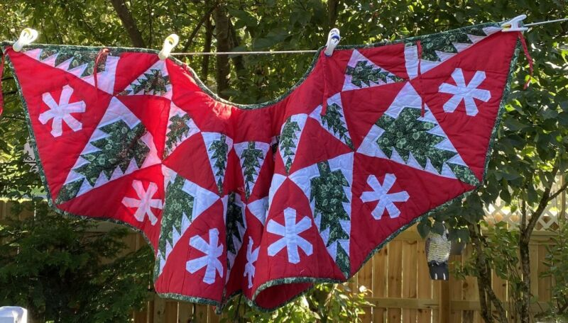 Vintage quilted Christmas Tree Skirt Red Green Tree Snowflake