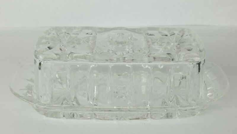 Vintage Anchor Hocking EAPC Star of David Clear Glass Covered Butter Dish