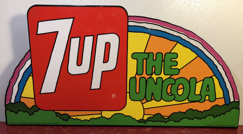 Vintage Original 7UP The Uncola Rainbow Metal Flange Sign Peter Maxx Style