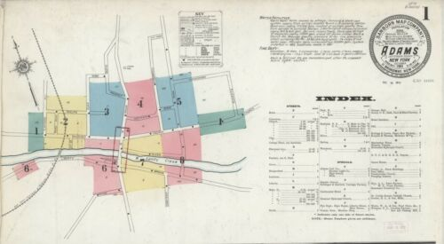 Adams, New York~Sanborn Map©~sheets~25 maps in color~1884 to 1912