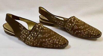 Ballin Italy Women's Shoe Flat Slingback Gold Embroidered Copper Slide Sz 36.5 ()