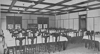 Webster Lake Indiana Yellow Banks Hotel  Dining Room Postcard B W 1940S