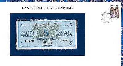 Banknotes of All Nations Finland 5 Markkaa 1963 UNC P106Aa.11 Litt. B