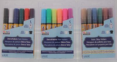 Marvy Uchida DecoFabric 6pc set Fabric Paint Markers / Fabric Glitter Markers