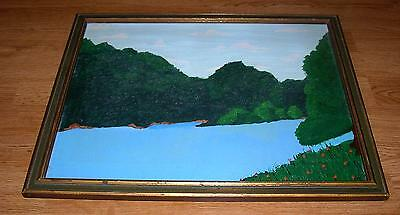 VINTAGE BLUE SKY GREEN TREES RIVER STREAM FLOWER FOLK ART LANDSCAPE OIL PAINTING