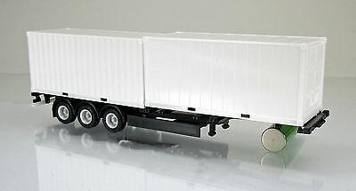 Herpa 076494 002 40 Fuß Containerauflieger 2 x 20-Fuß Container schwarz 1 87