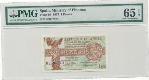 Spain Ministry of Finance Pick-94 1937 1 Peseta PMG 65 EPQ