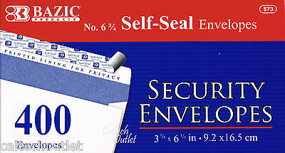 400 Peel Self-seal White Letter Mailing Security Envelopes 3-58 X 6-12