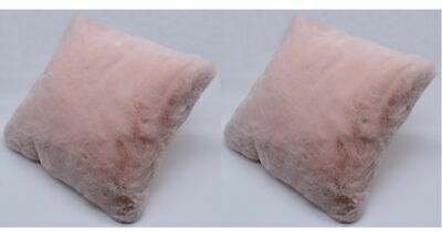 2er Set Fake Fur Hasenfell Kissen rosa 40x40 cm Dekokissen Zierkissen Kunstfell Rosa Kissen 2-er Set