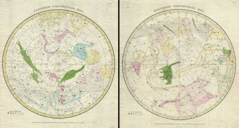 1833 Burritt - Huntington Map of the Constellations of the 2 Hemispheres