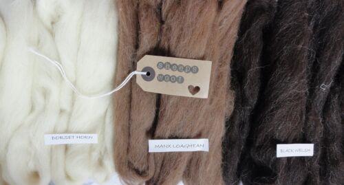 100g natural sheeeps wool for felting/weaving -dorset horn/ manx /black welsh