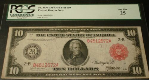 Fr. 893b 1914 $10 * RED SEAL * FEDERAL RESERVE NOTE  PCGS Very Fine 25   VF25