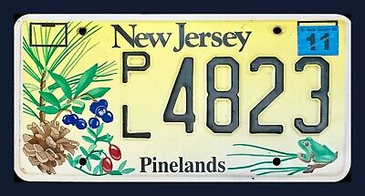 """NEW JERSEY GRAPHIC LICENSE PLATE """" PL 4823 """" PINELANDS PINE BARRENS TREES FROG"""