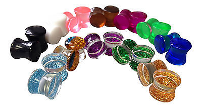 12 PAIR SET - Glitter and Solid Color/Semi-Transparent Saddle Double Flare Plugs Double Flare Saddle Plugs