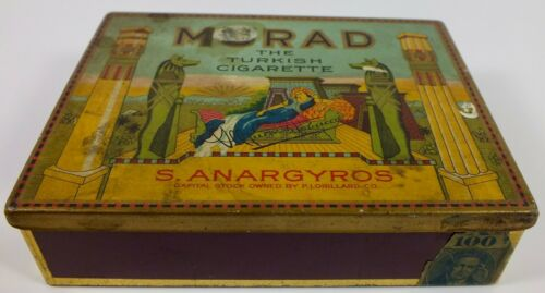 Vintage Murad Turkish 100 Cigarette Advertising Tin ~ S. Anargyros Corporation