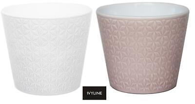 Ivyline Renna Embossed Flower Pot Planter Pink or White