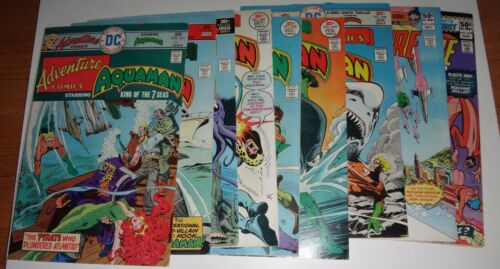 (9) ADVENTURE COMICS #441,443,444,445,447,448,449,477,478 F-VF 1975