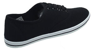 NEW MENS FLAT CANVAS PLIMSOLES PLIMS PUMPS LACE UP TRAINERS SHOES UK SIZES 7-12