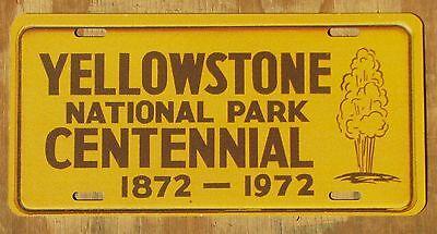 Yellowstone National Park Centennial Wyoming Montana Souvenir License Plate 1972