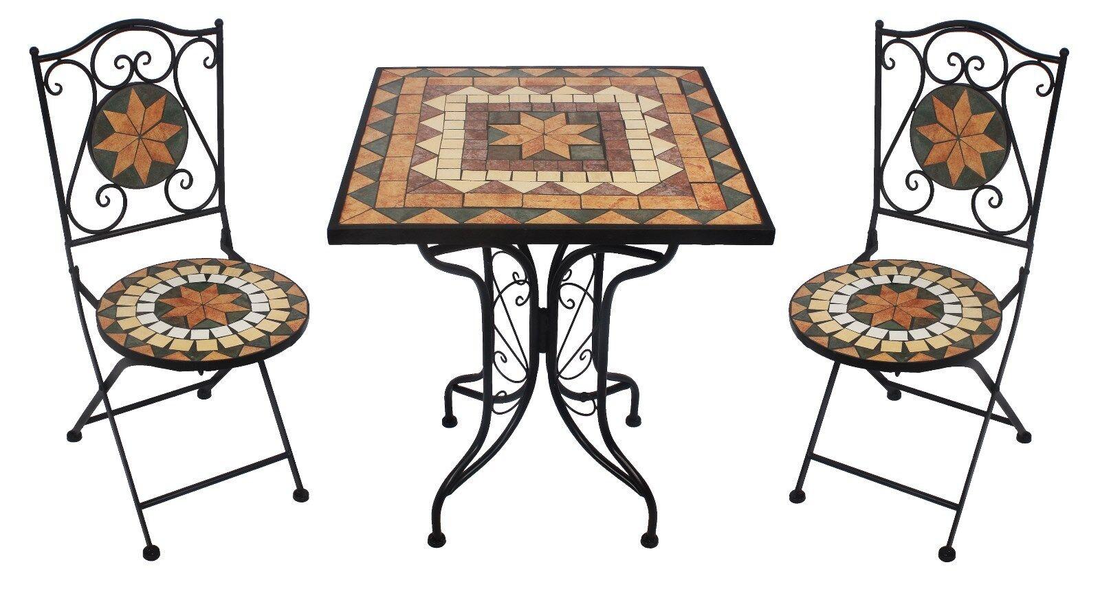 Mosaikset Rijeka AY 2659 Garten Balkon Terrasse Deko 3 tlg 1 Tisch + 2 Stühle