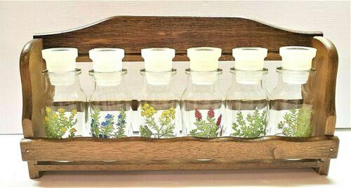 "Vintage Floral Glass Spice Jars & Wooden Rack Excellent Condition 11 1/8"""