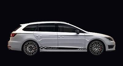 D040 Seitenstreifen CUPRA 3M 1080 Wrap Folie Schwarz für Seat Leon 5F ST FR  ()
