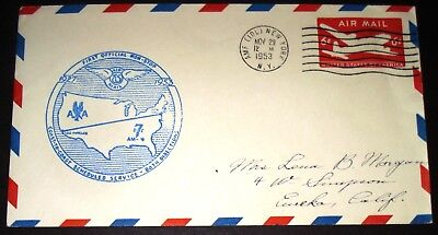 First Flight Airmail Am4  Coast To Coast Service New York Ny Nov 29 1953 Cover