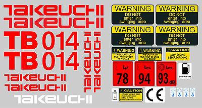Takeuchi Tb23r Mini Bagger Komplette Aufkleber Satz mit Sicherheit-Warnzeichen
