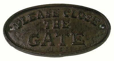 Vintage Look Cast Iron Oval Plaque / Sign - PLEASE CLOSE THE GATE