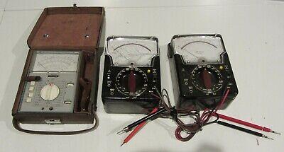 Lot Of 3 Vintage Multimeters - Weston Schlumberger Model 666 Triplett 630-aplk