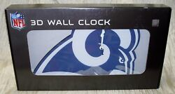 RARE 3D WHITE Foam NFL Los Angeles LA Rams LARGE 18 x 15 Wall Clock Man Cave