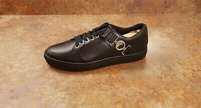New! Versace Logo Leather Black Lace Up Sneakers Mens Size 7 US 40 Eur MSRP $625