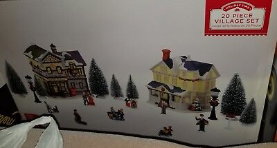 Holiday Time 20 Piece Lighted Village Set 2 Buildings Figurines Trees NEW ()