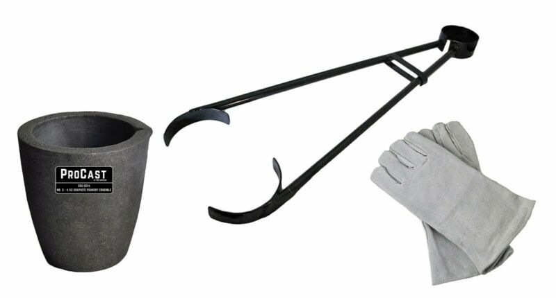"""#3 - 4 Kg Clay Graphite Foundry Crucible Kit 26"""" Foundry Crucible Tongs Gloves"""