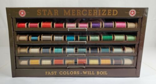 Antique Star Mercerized Thread 4 Drawer Store Display Advertising Spool Cabinet