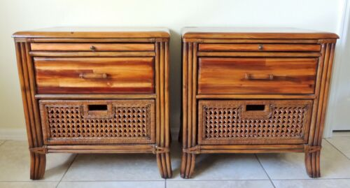 Pair Vintage Wood Bamboo & Wicker Leather Wrapped Side/End Tables Nightstands