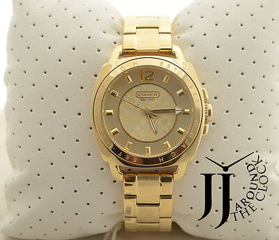 New COACH Boyfriend Gold Tone Bracelet Watch 14501534
