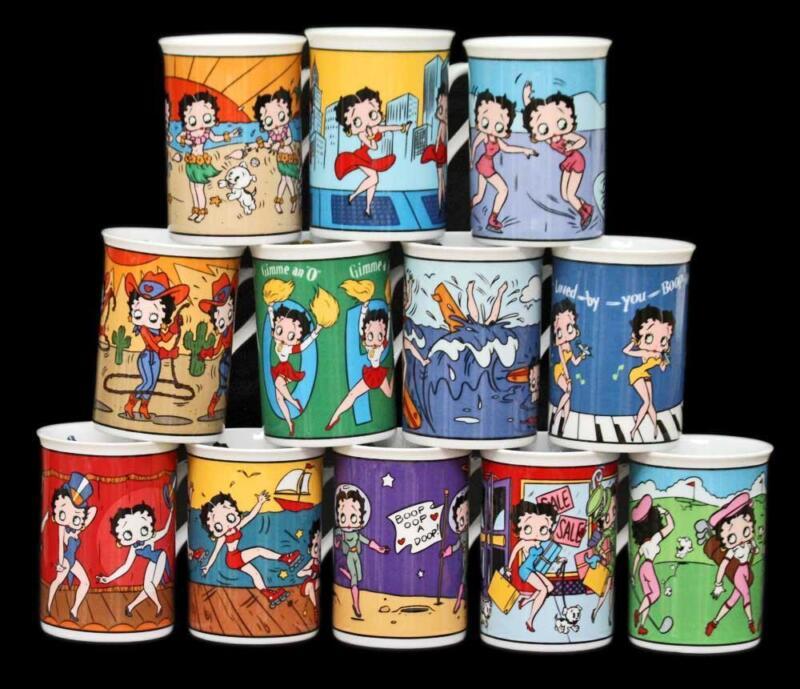 Danbury Mint Kings Features Betty Boop Set of 12 Fine Porcelain Coffee Cups Mugs