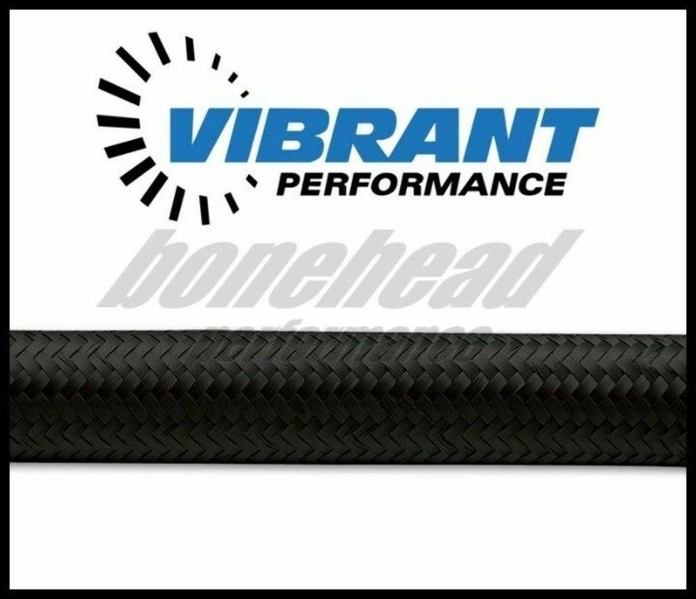 -6AN # 11966B Vibrant Performance Black Blue Nylon Braided Flex Hose 10ft Roll