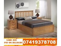 DOUBLE WOODEN BED WITH MEMORY FOAM