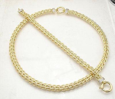 Diamond Accent Wheat Spiga Bracelet Chain Necklace Set Real 14K Yellow Gold Diamond Accent Bracelet And Necklace